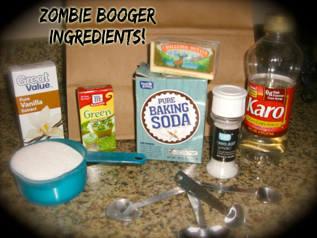 Zombie BOOgers popcorn recipe! Something very fun,freaky, delicious, and quick and easy too! {recipe and free printable}