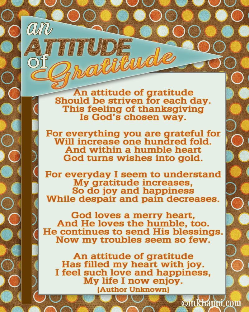 """An Attitude of Gratitude"" -Lets not skip Thanksgiving ..."