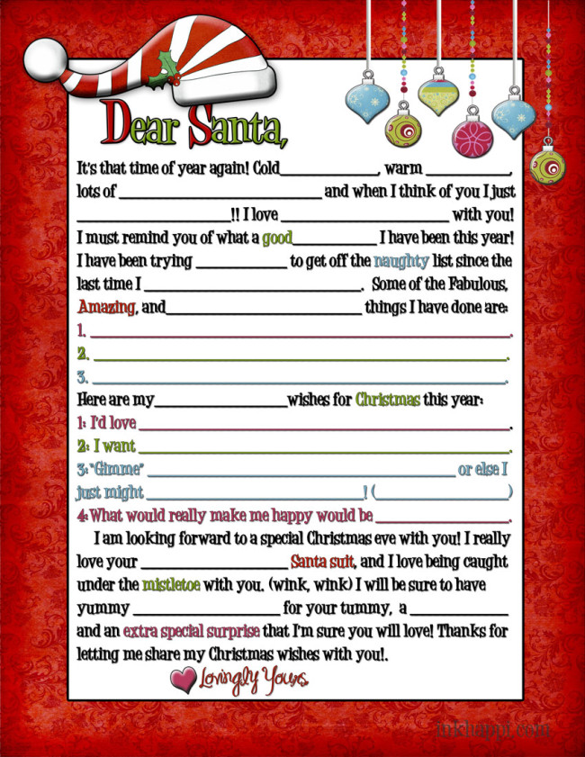 A letter to Santa... for Adults! (wink, wink) - inkhappi