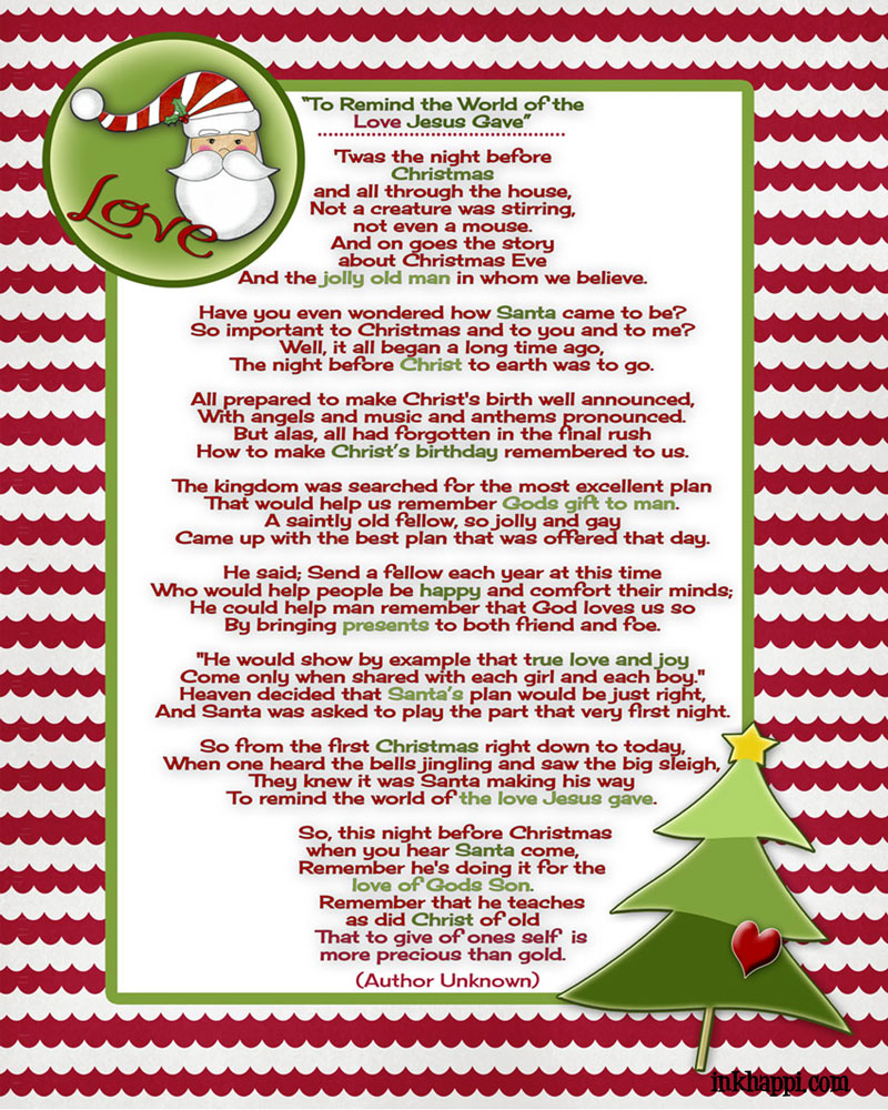 Christmas poems for church programs -  To Remind The World Of The Love Jesus Gave