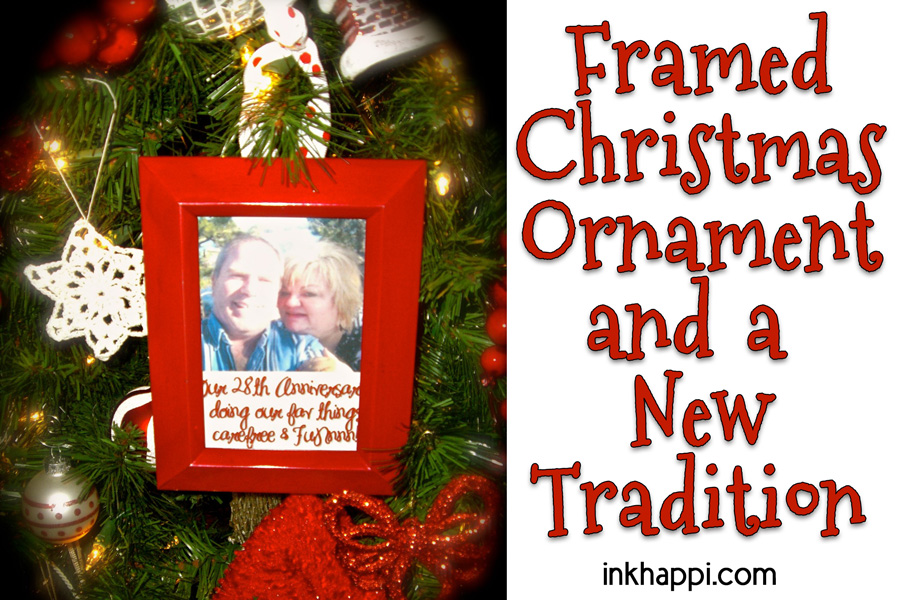 Framed Christmas ornaments and a new family tradition! Easy and inexpensive! #christmas #ornaments