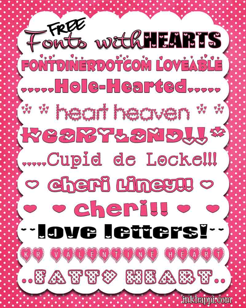 I {HEART} Fonts!! Free heart fonts and links to download at inkhappi.com