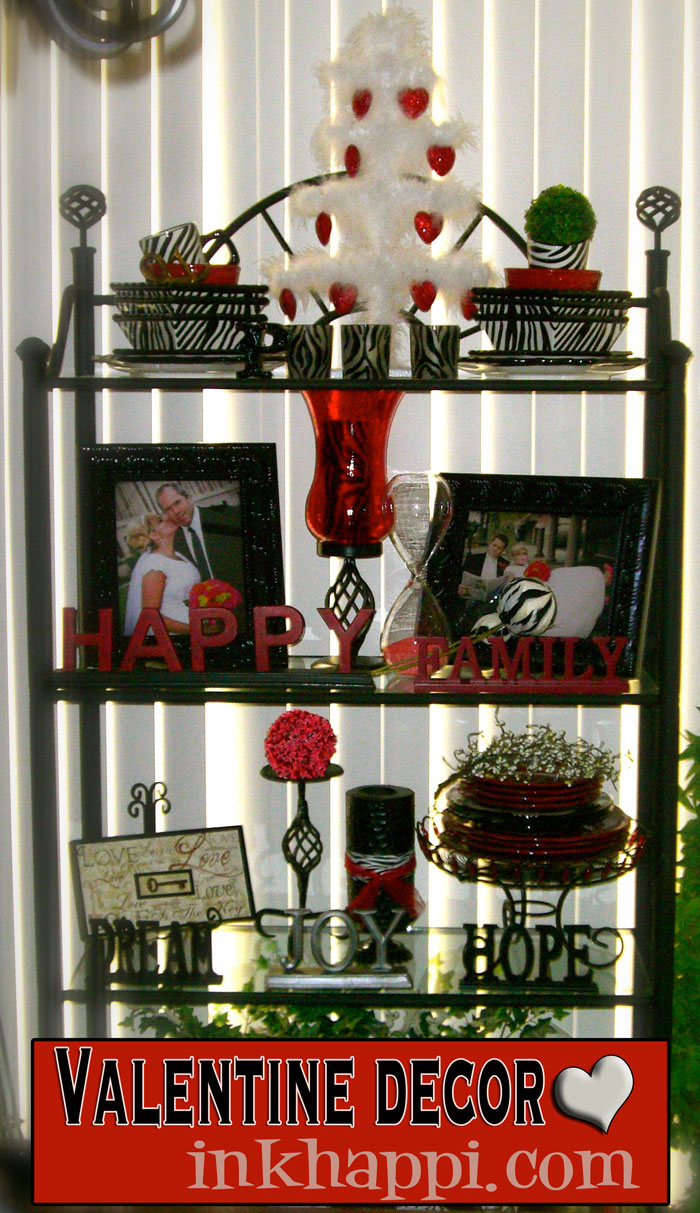 {Valentine decor bakers rack}