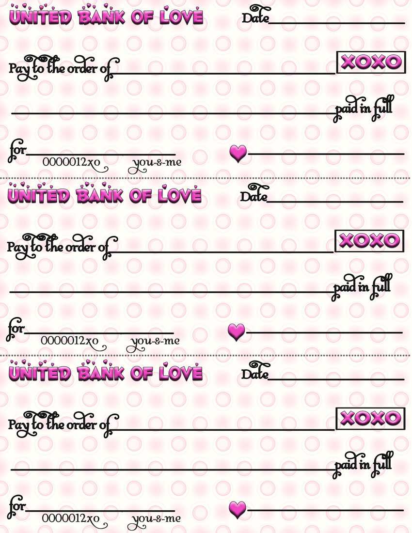 How about some free printable love checks?!!  Your loved ons will LOVE them!  #valentines #love #lovechecks #coupons