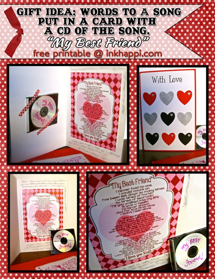 Sweet and sentimental Gift /Card idea and My Best Friend lyrics printable