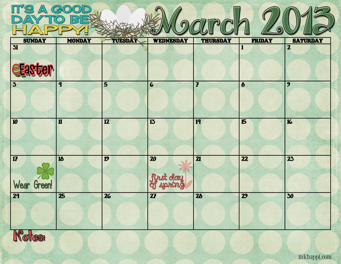 March 2013 free printable calendar from inkhappi.com
