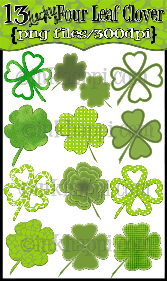 four-leaf-clover digital designs by Jillene @inkhappi.com