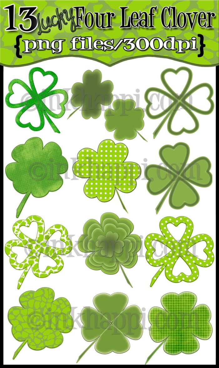 four-leaf-clover digital designs by Jillene @inkhappi.com