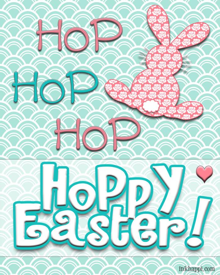 """hop hop hop Hoppy Easter"" FREE printable at https://inkhappi.com"