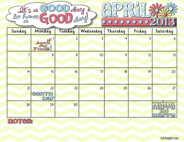 april2013 free printable calendar from inkhappi.com