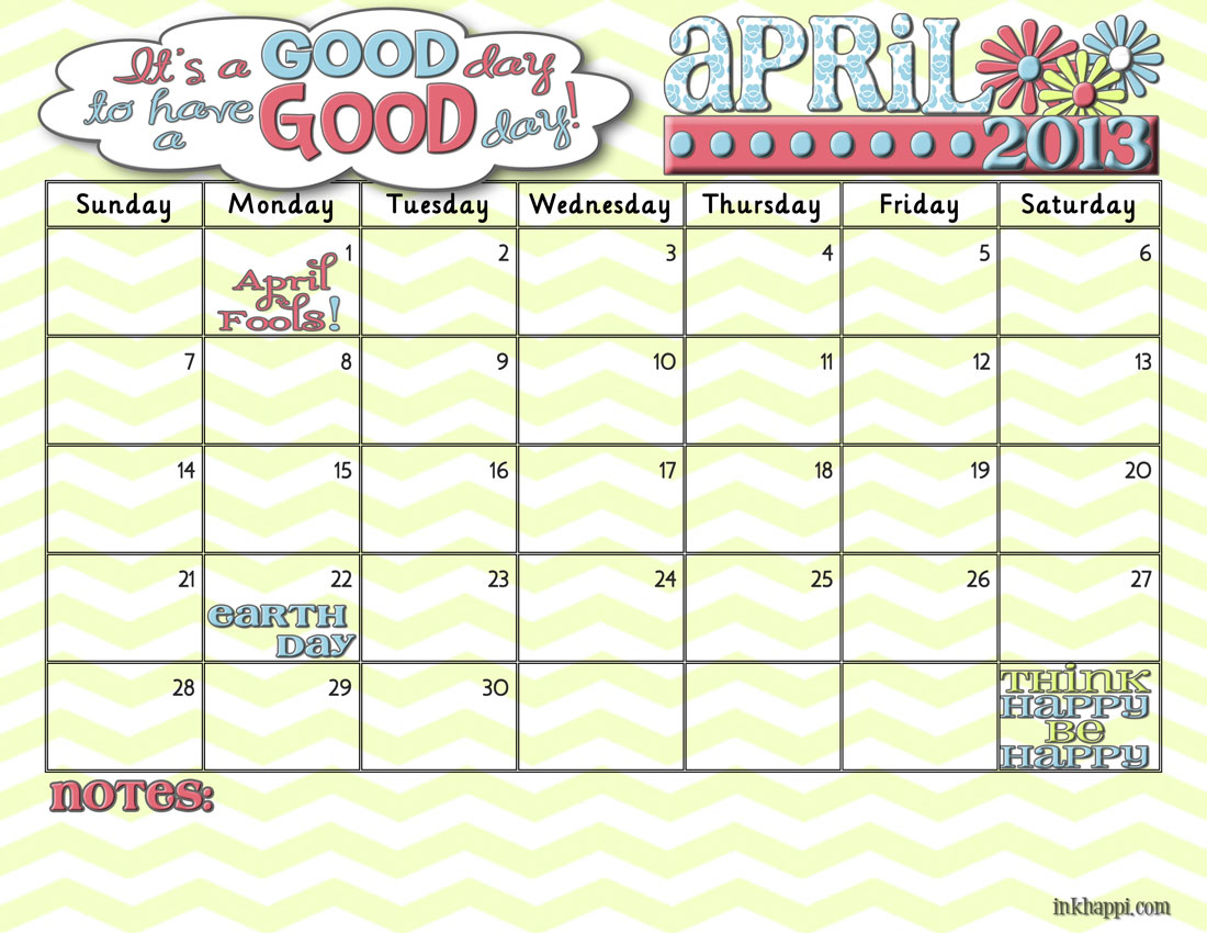 It's Your April 2013 Calendar! - inkhappi