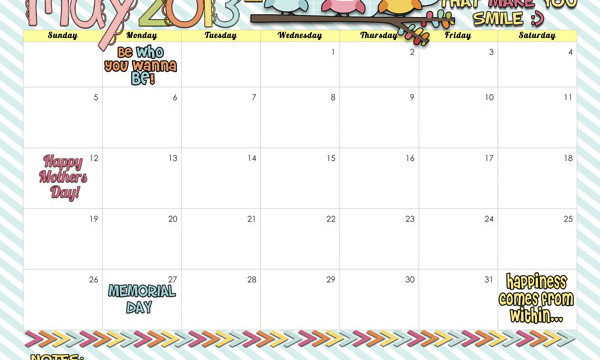 May 2013 Calendar free printable from inkhappi.com