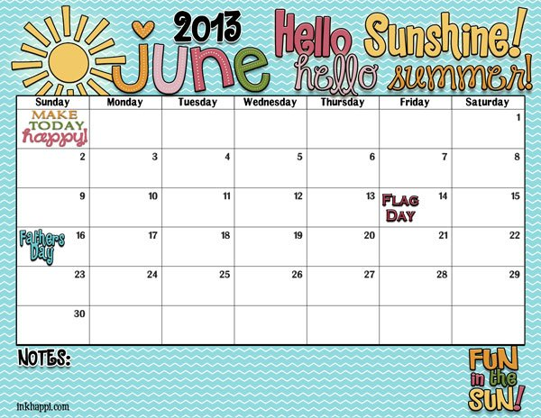 June 2013 free printable calendar from inkhappi.com