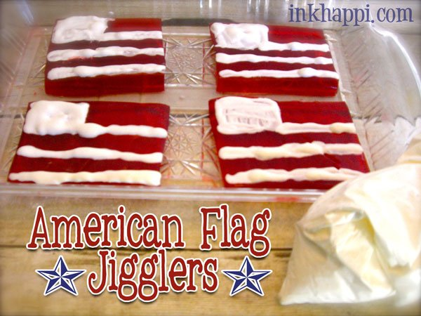 """American Flag Jello Jigglers"" recipe. A fun way to show some patriotism and the kids love it! #jellojigglers #recipe #patriotic #4thofJuly"