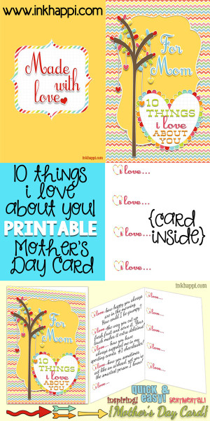 10 things I love about you printable mothers day card