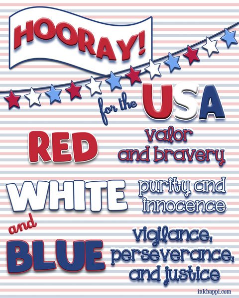 The meaning of the USA Red, White and Blue colors. Free printable at inkhappi.com