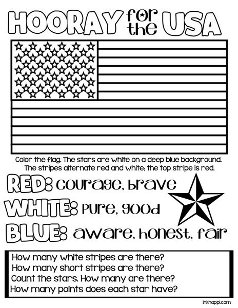 Coloring page to teach kids about the colors and the USA flag at inkhappi.com