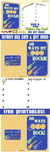 Free printable! Dad Rocks! Fathers day card with great gift ideas at inkhappi.com There is also a generic version... YOU ROCK!