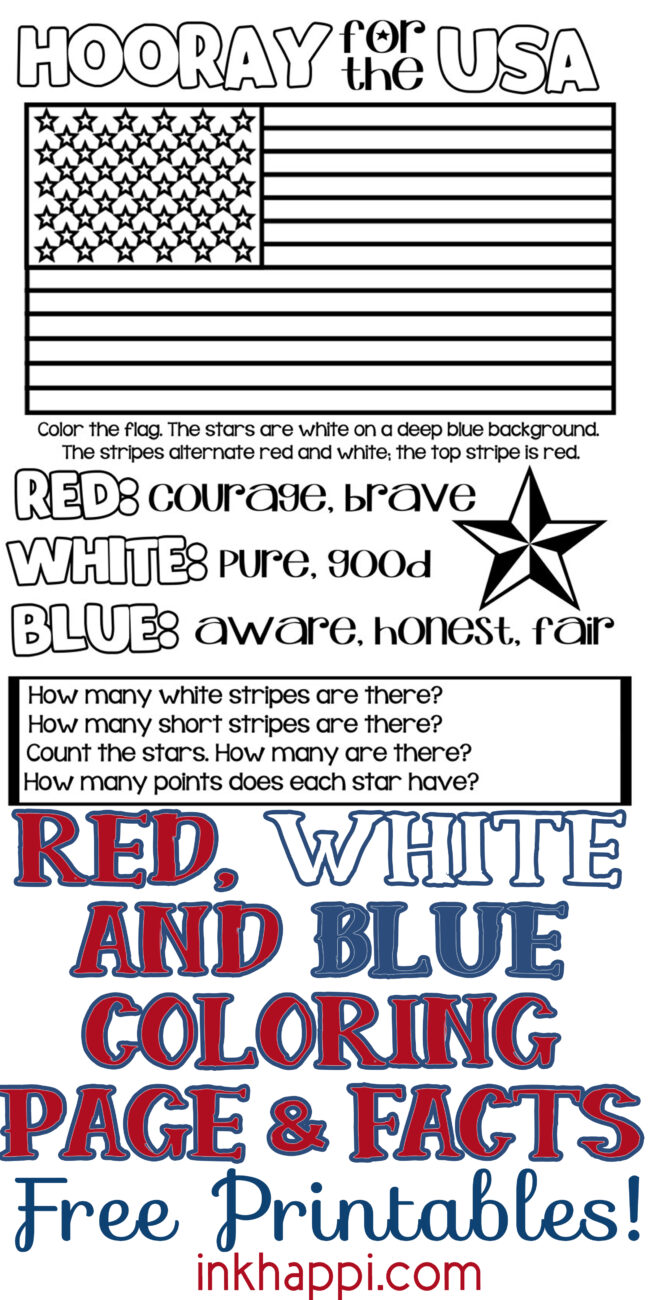 Coloring page to teach kids about the colors and the USA flag. #freeprintable #usa #redwhiteblue #kidsactivity