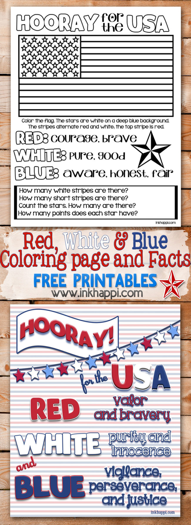 Red, White & Blue meaning of the the USA colors for adults and kids. Coloring page!