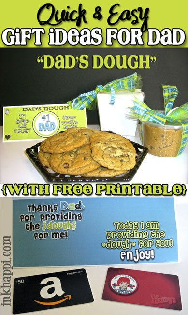 "Quick and Easy gift ideas for Dad. ""Dads Dough"" found at inkhappi.com"