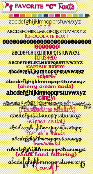 "These are some of my favorite fonts and they all start with a ""C""! List of fonts and download links at inkhappi.com"