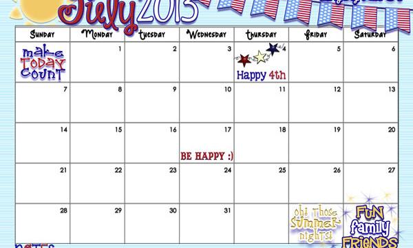 Yay! July 2013 calendar from inkhappi
