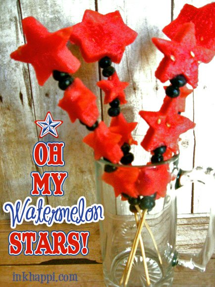 Make red, white, and blue watermelon star kabobs! lots of watermelon star ideas at inkhappi.com
