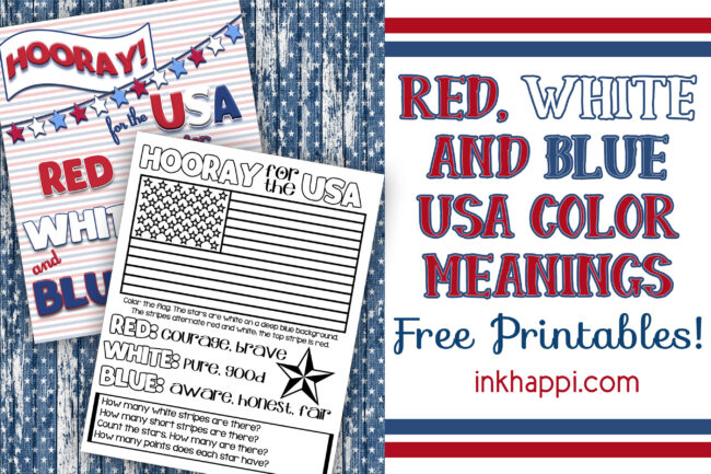 Red white and blue usa colors meaning. #freeprintable #usa #redwhiteblue #kidsactivity