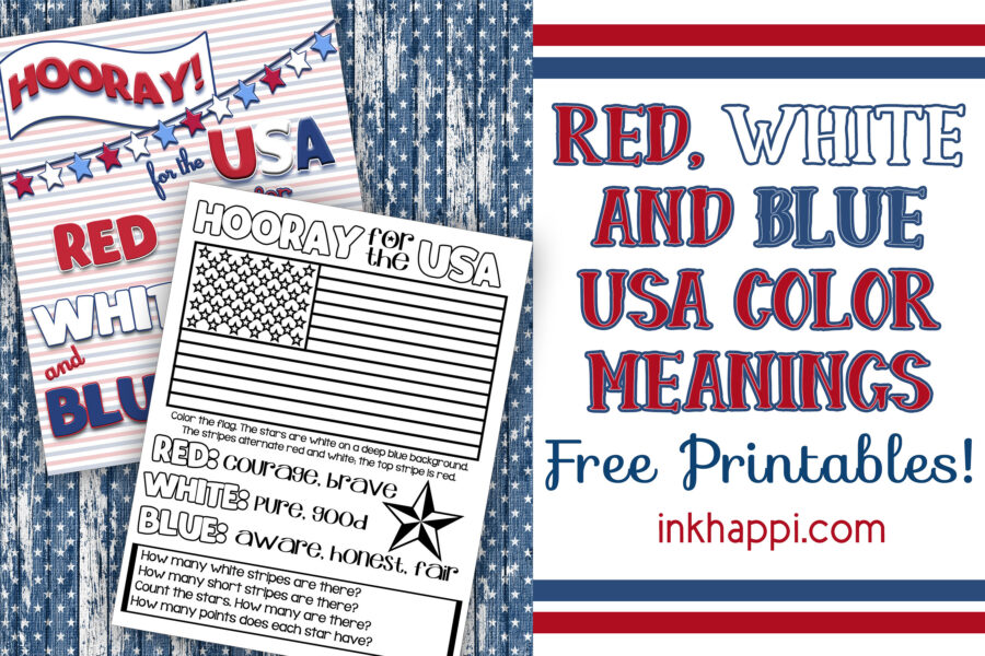 Red, White & Blue USA Colors Meaning {Free Printables}