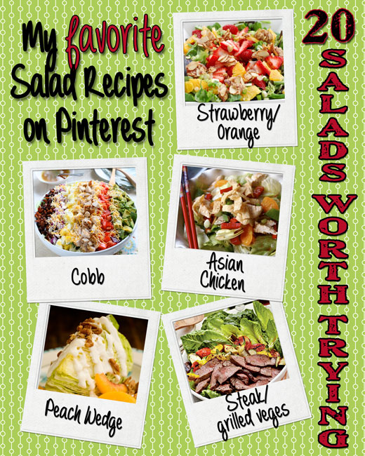 Oh for the LOVE of Salads! Here are 20 of my favorite  salads./dressings on Pinterest. YuMmmm