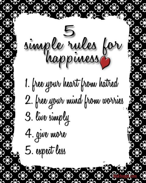 Love this! 5 simple rules for happiness. free print at inkhappi.com