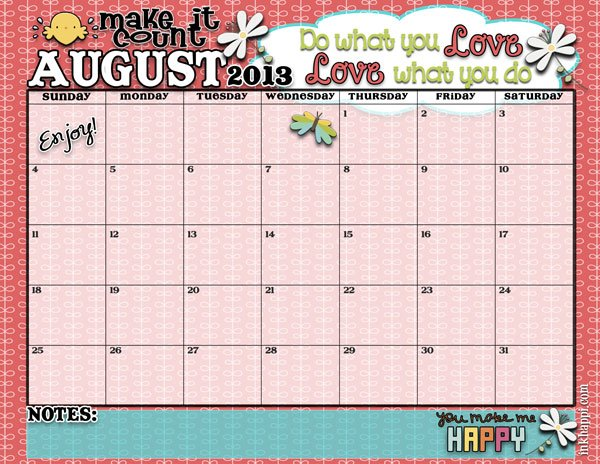 August 2013 FREE PRINTABLE Calendar! At inkhappi.com