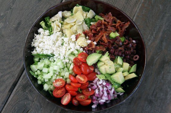 "Kitchen Sink Chopped Salad with Creamy Balsamic Dressing from ""My Life as a Mrs"""