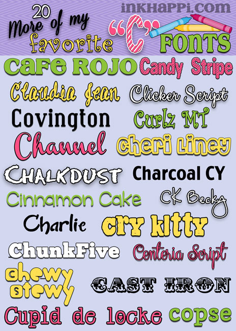 "inkhappi shares weekly free font downloads with links in alphabetical order. here is week 4 featuring 20 more ""C"" fonts!"