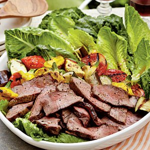 Grilled Steak-and-Ratatouille Salad with Basil-Garlic Vinaigrette from My Recipes
