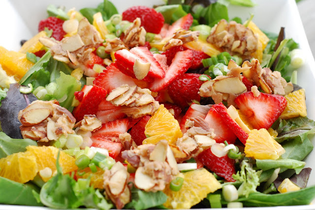 Yummmy orange strawberry salad from See Jane Cook