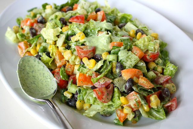 Southwestern Chopped Salad with Cilantro Dressing from The Garden Grazer