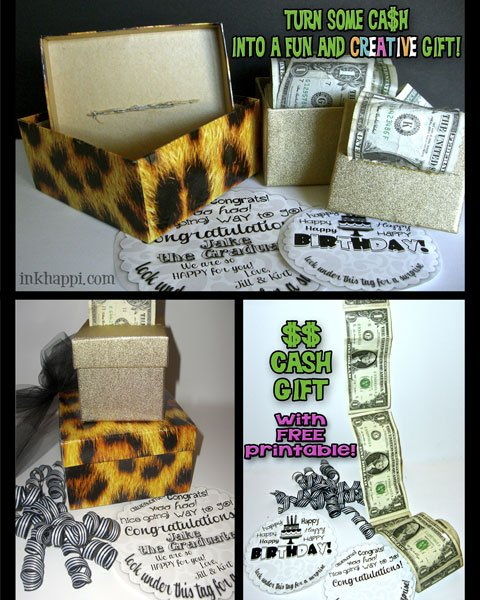 Cash? Yes please!! Super easy and fun and creative way to gift cash with a personal touch. Idea with free printable at inkhappi.com