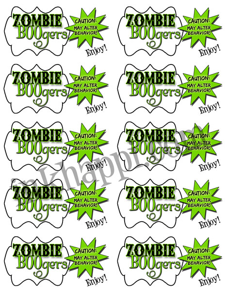 Zombie boogers. So YuMmmmMmmmy! Tags to attach to bags. 10 to a page.