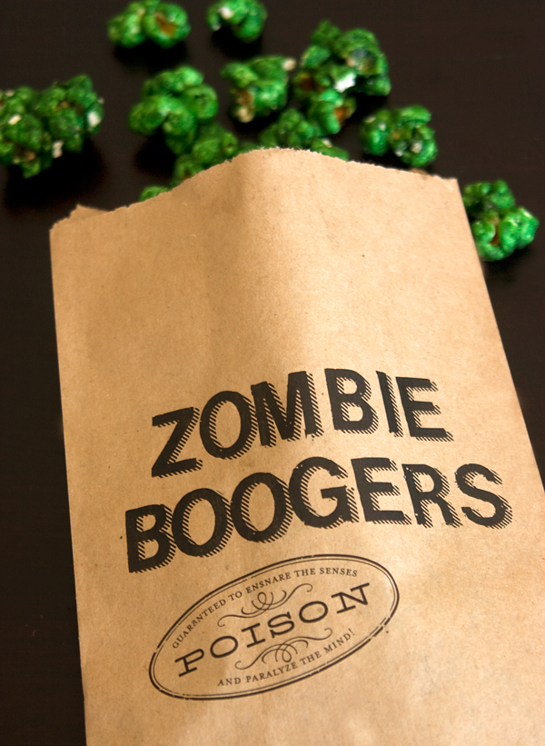 zombie boogers recipe and printed bags at PAPER & PARCEL