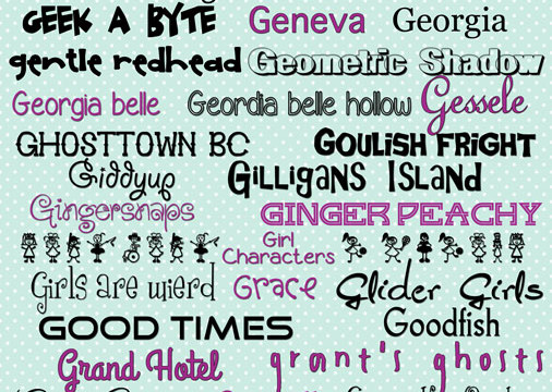 "OMG-G-G-G love these! More free fonts with download links. All ""g"" fonts. TONS of fonts on this site!"