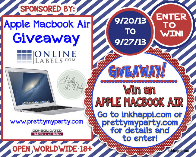 Yay! An awesome giveaway for an Apple Macbook Air worth over $1000! Click on this photo for details and to enter!