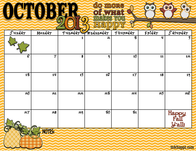 Fall is here! Yeah! October 2013 Calendar free printable from inkhappi.com