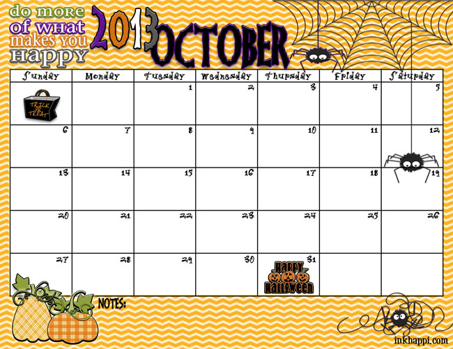 Spooky October 2013 Calendar free printable from inkhappi.com