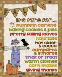 """What do you look forward to in the Fall? I have my Fall to-do list ready... just waiting for Arizona to give us some Fall! """"FALL FUN"""" Free print at inkhappi"""