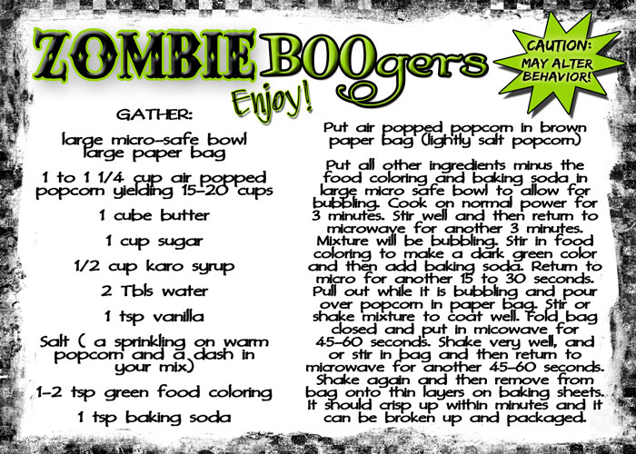 Free printable recipe card for ZOMBIE BOOgers! These are so fun, easy and yum yummmmy!