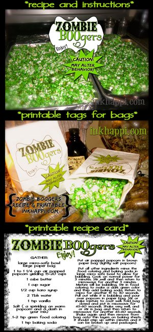 Serving up some ZOMBIE BOOgers popcorn! These are so crazy cool! Recipe with free printable labels and recipe card.