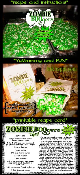 Serving up some Zombie BOOgers! These are so crazy cool! Recipe and printable