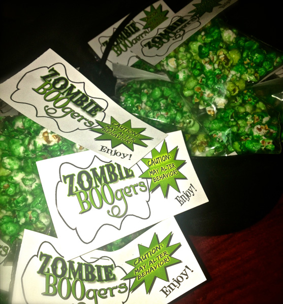 Serving up some Zombie BOOgers! Popcorn treat tags.